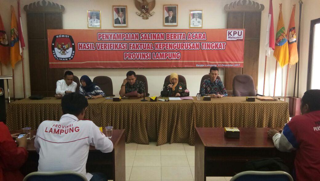 KPU Serahkan Hasil Verifikasi Faktual Parpol Partai Perindo dan PSI