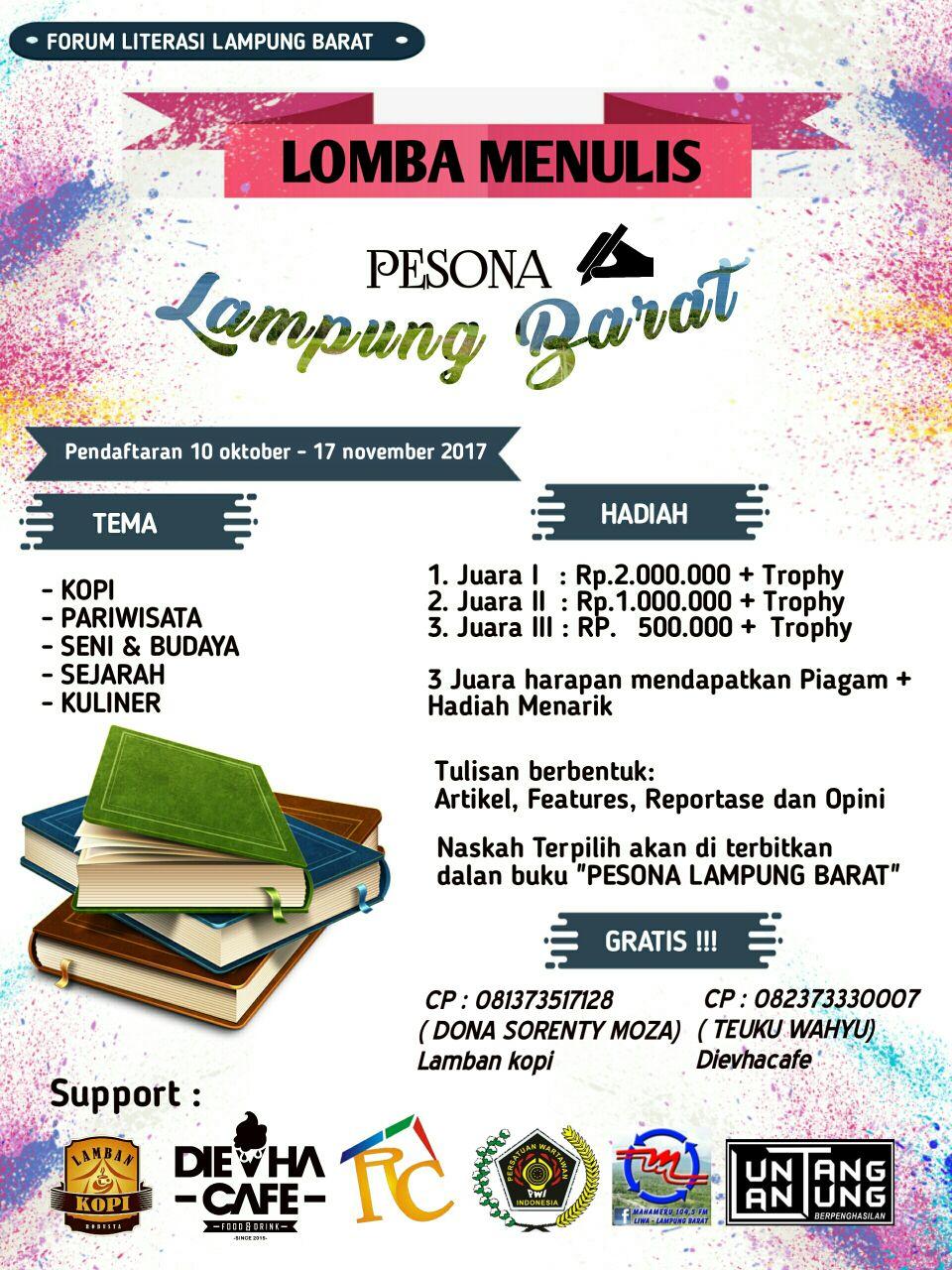 LAMPUNG POST | Forum Literasi-PWI Lambar Gelar Lomba Menulis Pariwisata
