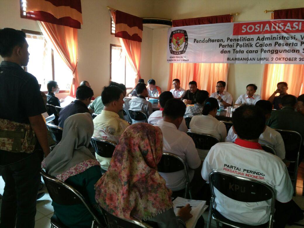 LAMPUNG POST | KPUD Way Kanan Sosialisasi Pendaftaran Partai Politik