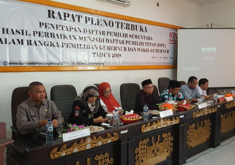 622.829 Pemilih Kota Bandar Lampung Ditetapkan