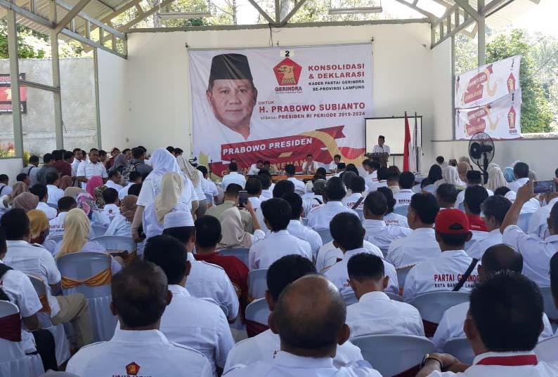 LAMPUNG POST | Gerindra Lampung Deklarasikan Prabowo Jadi Capres