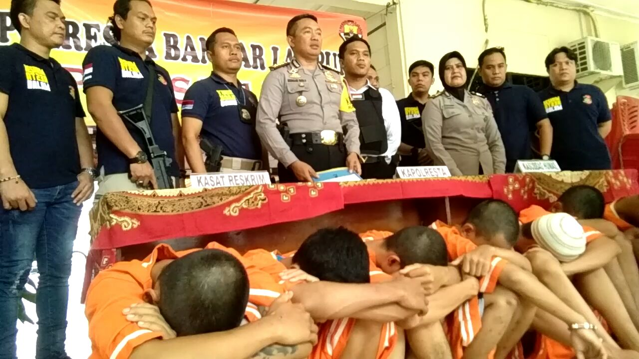Polresta Bandar Lampung Ekspose Penangkapan 7 Pelaku Begal