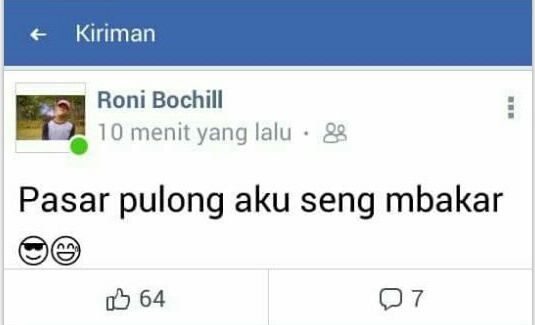 Iseng Buat Status Pembakar Pasar Pulungkencana, Roni Bochil Minta Maaf
