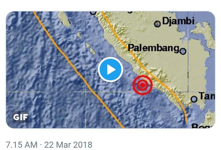 Gempa 5 SR Guncang Bengkulu, Terasa Hingga Liwa