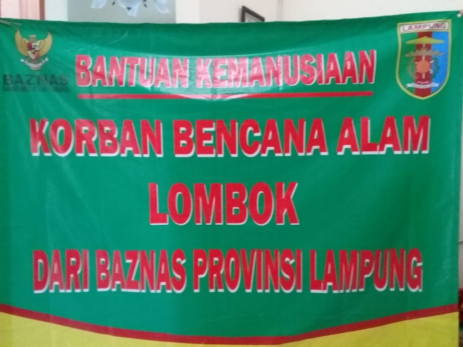 Baznas Lampung Salurkan Donasi Rp139,5 Juta keLombok