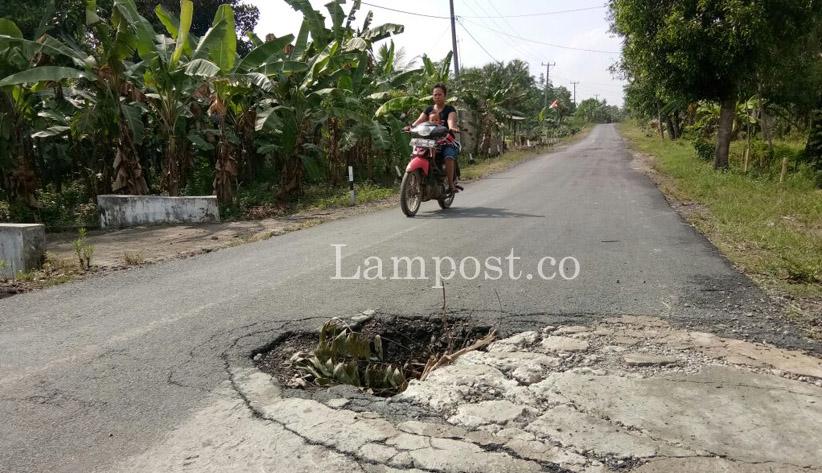 LAMPUNG POST | Gorong-gorong Jalan Desa Kalirejo Ambrol Bahayakan Pengendara