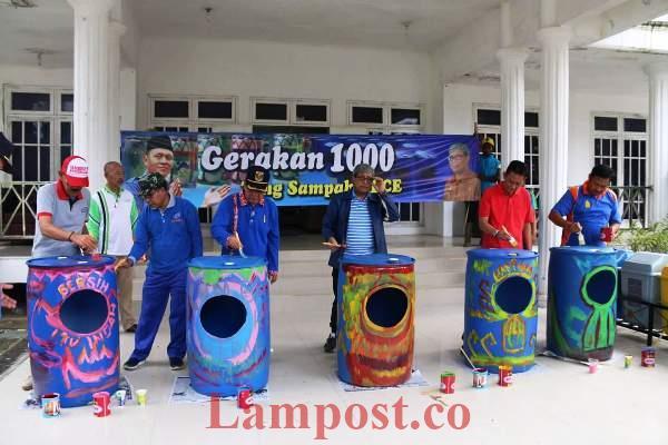 LAMPUNG POST | Pemkab Lampung Tengah Launching Gerakan 1.000 Tong Sampah Kece