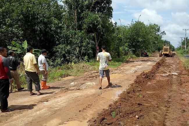 Pemkab Lamsel Perbaiki Jalan Penghubung Metro dan Lamtim