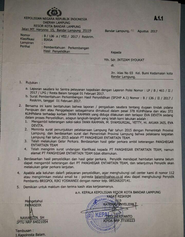 LAMPUNG POST | Pelapor Pertanyakan Kasus Penipuan Rp900 juta yang Mengendap di Polresta