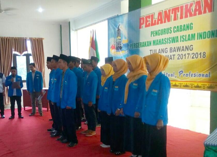 Pengurus Cabang Pergerakan Mahasiswa Islam Indonesia Tulangbawang Dikukuhkan