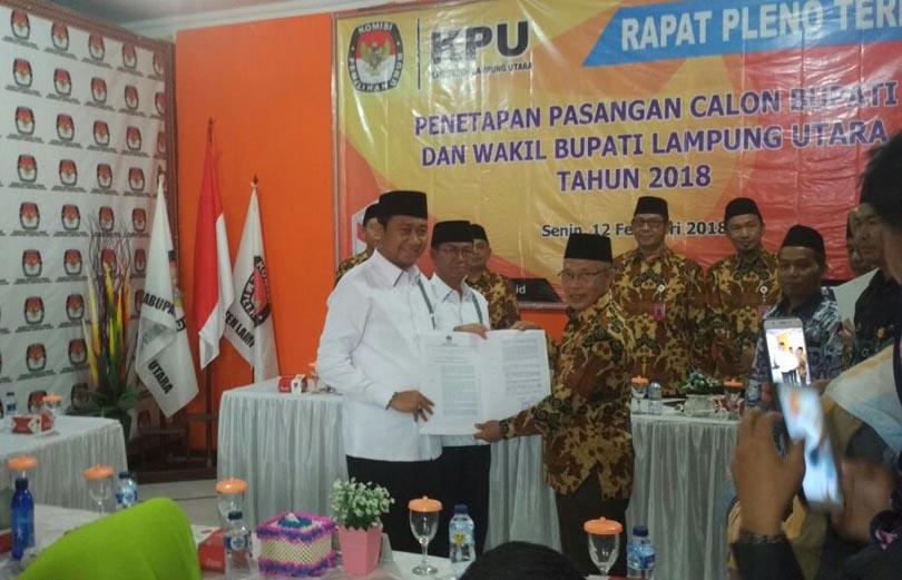 3 Pasangan Calon Bupati-Wakil Bupati Lampung Utara Ditetapkan
