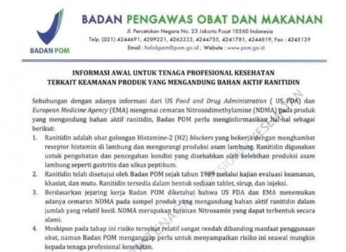 Dinkes Lamsel Belum Terima Surat Penarikan Obat Ranitidin dari BPOM