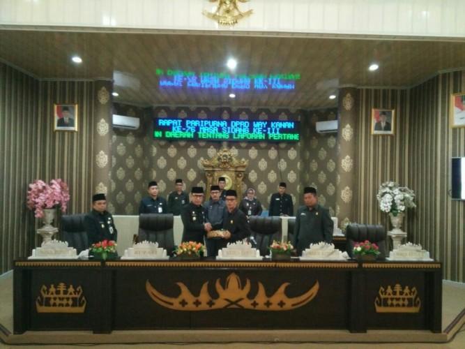 DPRD Way Kanan Gelar Paripurna PenyampaianRaperda LPj Pelaksanaan APBD