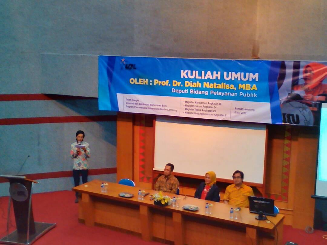 LAMPUNG POST   Maba PPs UBL Dibekali Kuliah Umum Deputi Pelayanan Publik KemenPAN-RB
