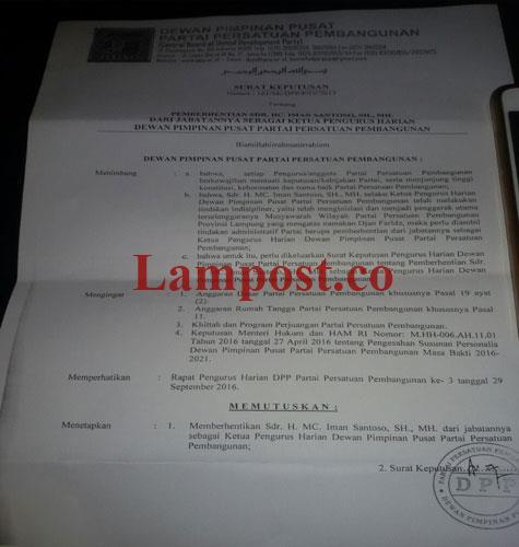 LAMPUNG POST | DPP Berhentikan MC Imam Santoso dari Pengurus PPP