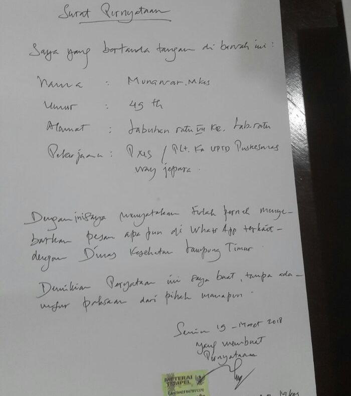 LAMPUNG POST | Beredar WhatsApp Palsu, Plt. Kadiskes Lamtim Difitnah Soal Pungli