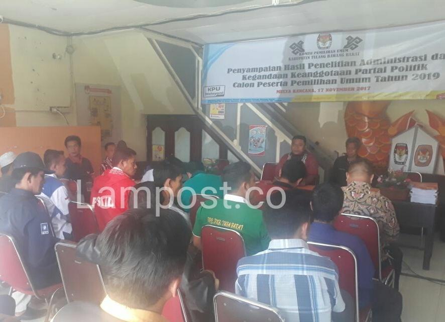 LAMPUNG POST | Enam Parpol di Tubaba Tidak Lolos Verifikasi Faktual Berkas Sipol