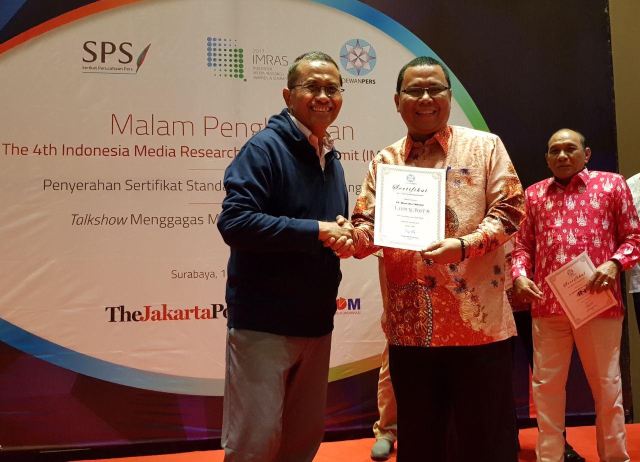 LAMPUNG POST | Kini Lampung Post Bersertifikat Standar Perusahaan Pers