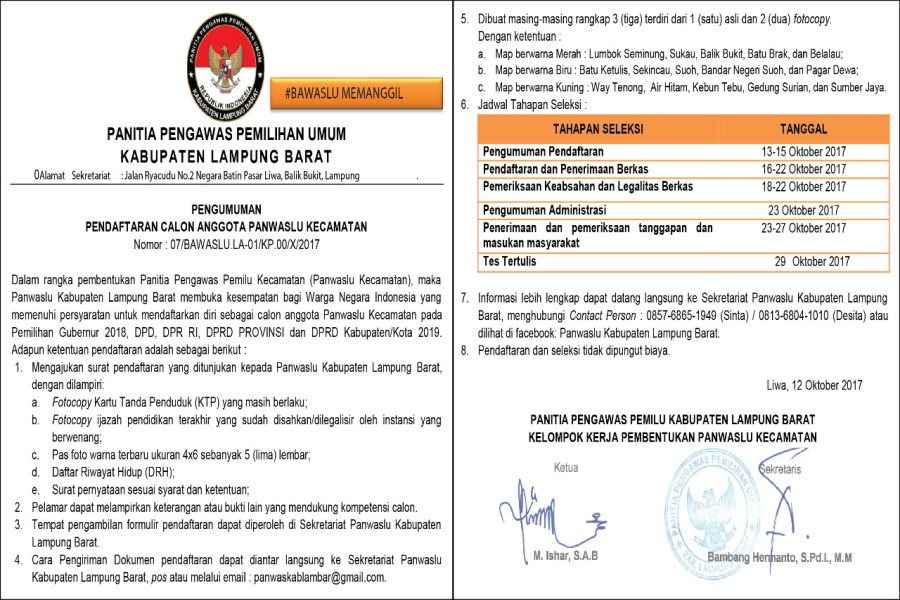 LAMPUNG POST | Panwaslu Lampung Barat Rekrut Panwascam
