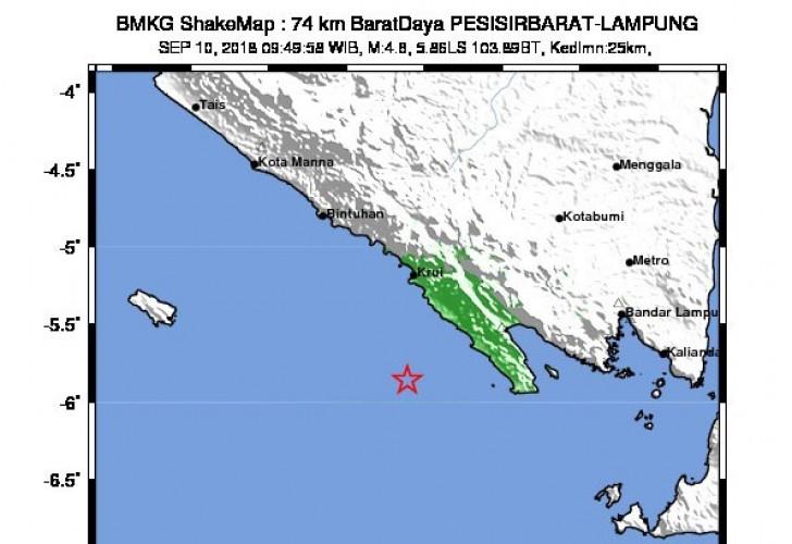 Gempa 4,8 SR di Pesisir Barat Tak Berpotensi Tsunami