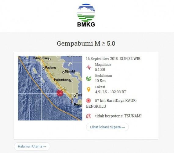 Gempa Berkekuatan 5,1 SR Goncang Wilayah Liwa