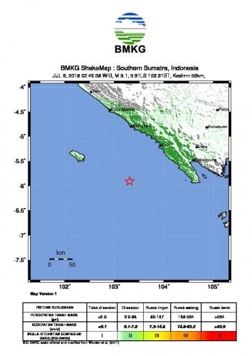 Gempa Berkekuatan 5.2 SR Guncang Liwa