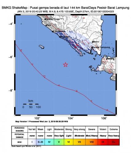 Gempa Bumi 4,9 MMI Landa Lampung Barat Tidak Berpotensi Tsunami
