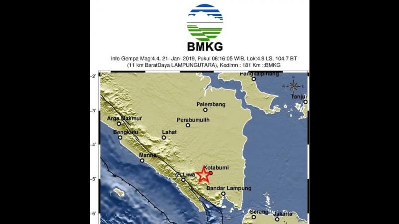 Gempa Bumi Guncang Lampung Utara, Tidak Berpotensi Tsunami