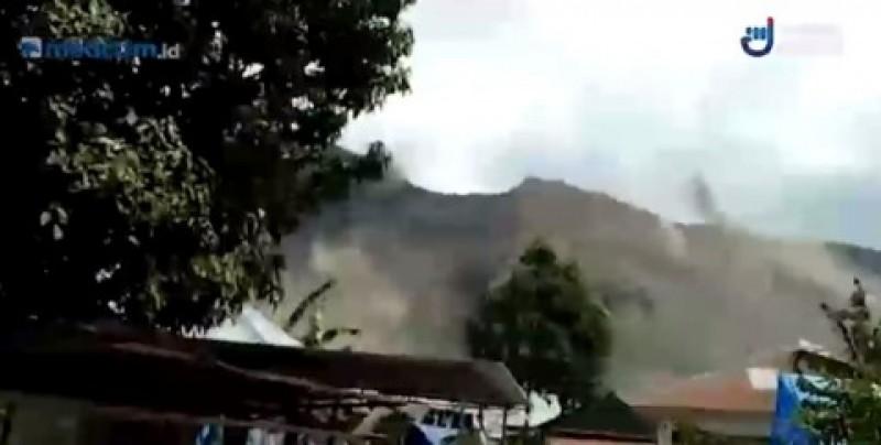 Gempa Susulan 6,5 SR Picu Longsor di Lereng Gunung Rinjani