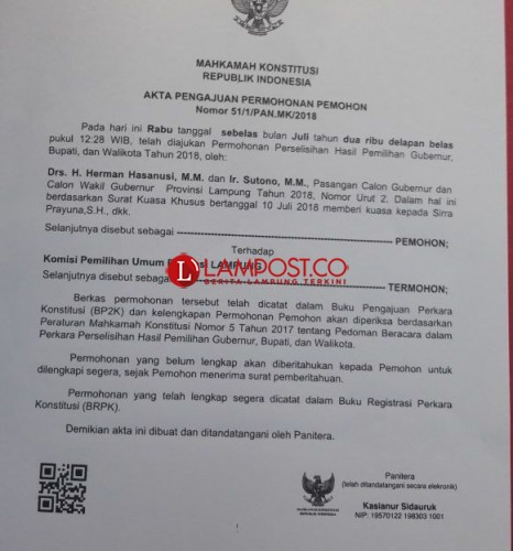 Giliran Herman HN-SutonoAjukan Gugatan ke MK