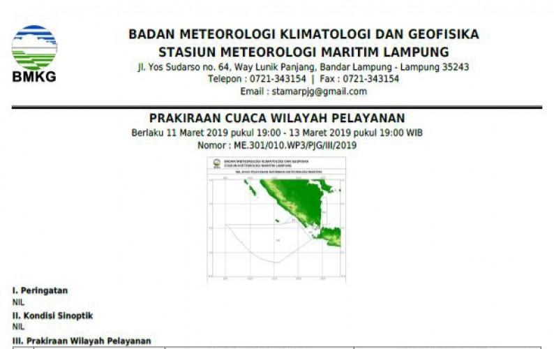 Hari Ini, Seluruh Pelabuhan Laut Lampung Diprediksi Hujan