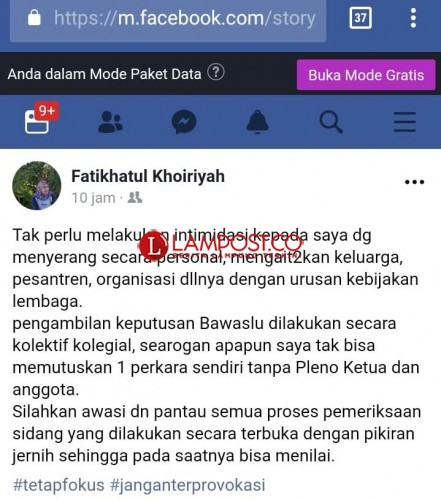 Ketua Bawaslu Diintimidasi Lalu Curhat di Facebook