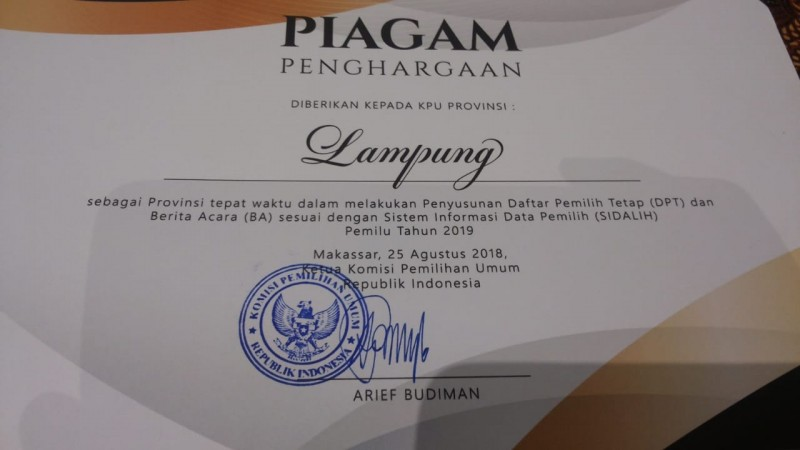 KPU Lampung Jadi Provinsi Tepat Waktu Dalam DPT