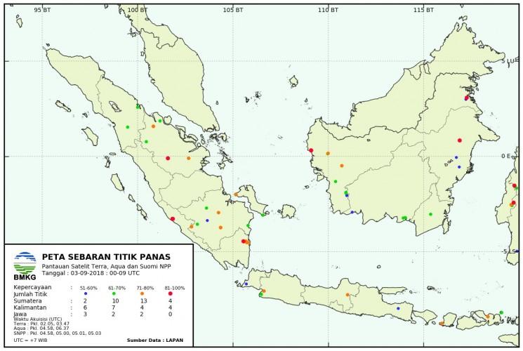 Lima Hotspot Terpantau Hari Ini di Lampung