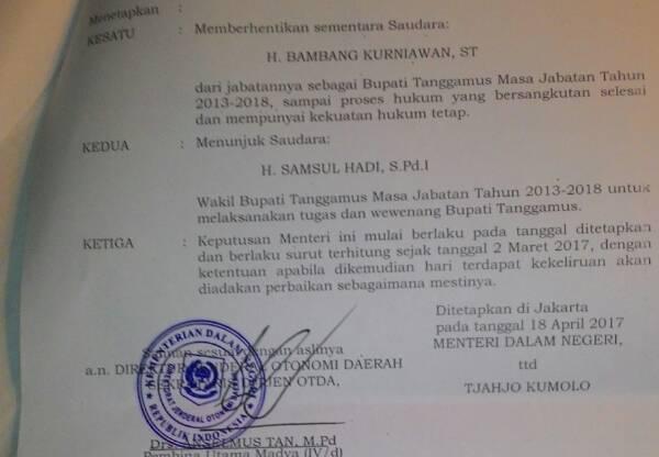Bambang Kurniawan Diberhentikan Sementara dari Jabatan Bupati