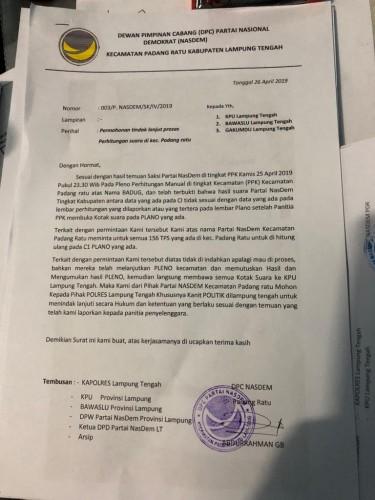 NasDem Desak Hitung Ulang di 156 TPS Se-Padangratu