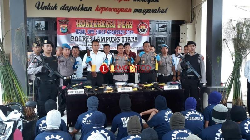 Operasi Krakatau 2019, Polres Lampura Ungkap 38 Kasus dengan 40 Tersangka