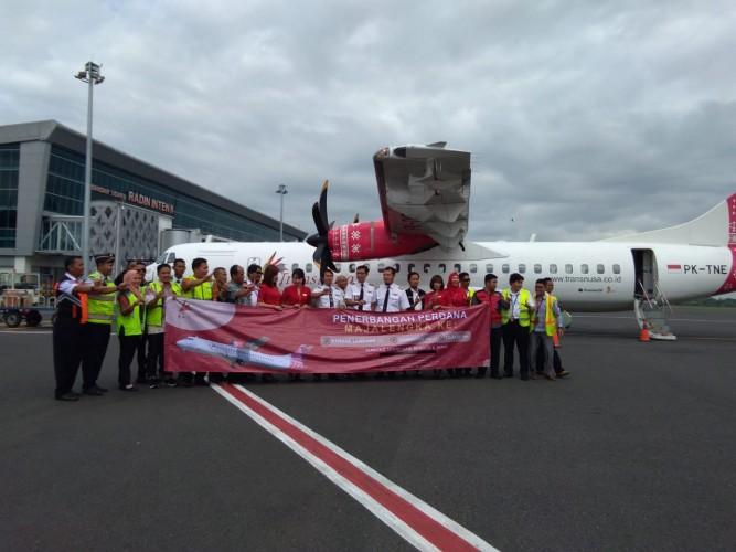 Penerbangan Trans Nusa Rute Lampung-Majalengka Resmi Beroperasi