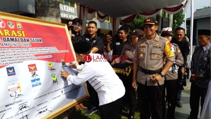 Polres Lampung Utara Deklarasi Damai Jelang Pemilu