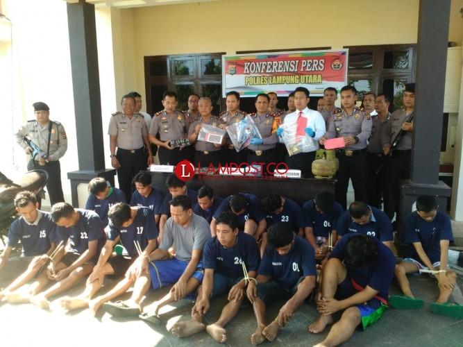 Polres Lampura Amankan 19 Pelaku Kejahatan Selama Operasi Sikat Krakatau