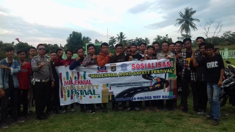 Polres Way Kanan Gandeng Komunitas Motor di Millennial Road Safety Festival