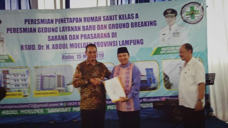 Status Rumah Sakit Umum Daerah Abdul Moeloek Jadi Tipe A